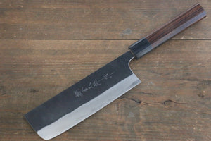 Yoshimi Kato Blue Super Clad Kurouchi Nakiri Japanese Chef Knife 160mm with Ironwood Handle - Japanny - Best Japanese Knife