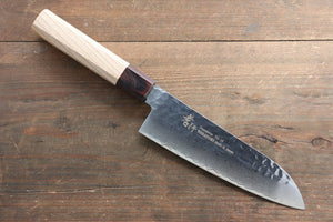 New! Sakai Takayuki VG10 33 Layer Damascus Santoku Knife 170mm with Keyaki Handle(Japanese Elm) - Japanny - Best Japanese Knife
