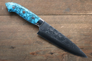 Takeshi Saji SRS13 Hammered Petty-Utility Japanese Knife 135mm with Blue Turquoise (Nomura Style) Handle - Japanny - Best Japanese Knife