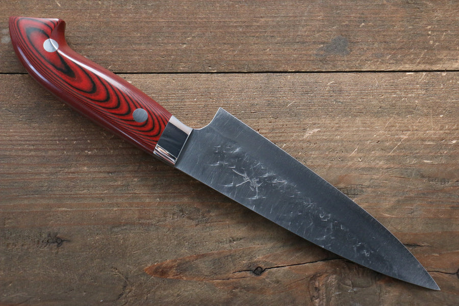 Takeshi Saji SRS13 Hammered Petty-Utility Japanese Knife 135mm with Red Micarta Handle - Japanny - Best Japanese Knife
