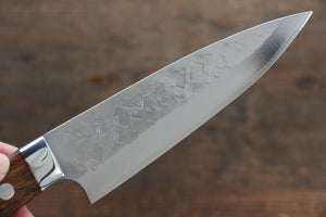 Takeshi Saji SRS13 Hammered Petty Japanese Chef Knife 130mm with Iron Wood Handle - Japanny - Best Japanese Knife
