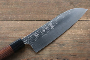 Yu Kurosaki Juhyo R2/SG2 Hammered Santoku Japanese Knife 165mm with Shitan (ferrule: Black Pakka wood) Handle - Japanny - Best Japanese Knife