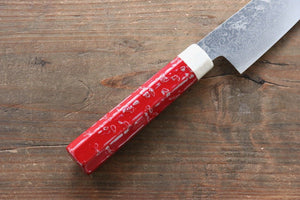 Yu Kurosaki R2/SG2 Damascus Small Santoku Japanese Knife 155mm with Red Lacquered Handle - Japanny - Best Japanese Knife