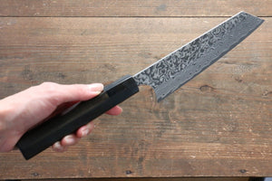 Yoshimi Kato R2/SG2 Damascus Bunka Japanese Knife 165mm with Black Lacquered Handle - Japanny - Best Japanese Knife