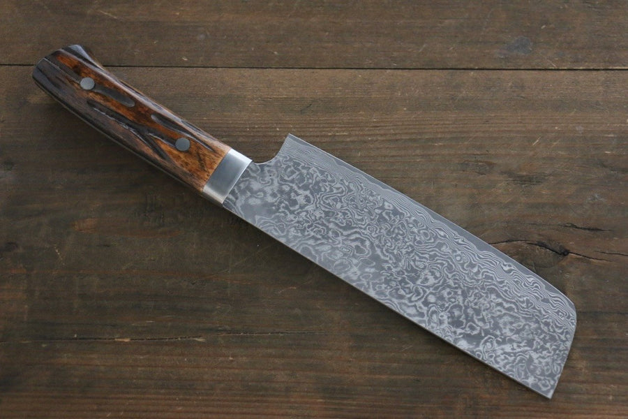 Takeshi Saji R2/SG2 Black Damascus Nakiri Japanese Chef Knife 165mm with Brown Bone handle - Japanny - Best Japanese Knife
