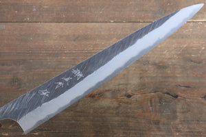 Yu Kurosaki Fujin Blue Super Hammered Sujihiki Japanese Knife 270mm with American Cherry Handle - Japanny - Best Japanese Knife