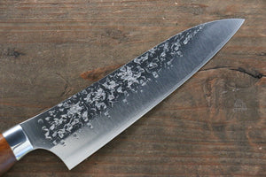 Yu Kurosaki Shizuku R2/SG2 Hammered Small Santoku Japanese Knife 150mm with Iron Wood Handle - Japanny - Best Japanese Knife