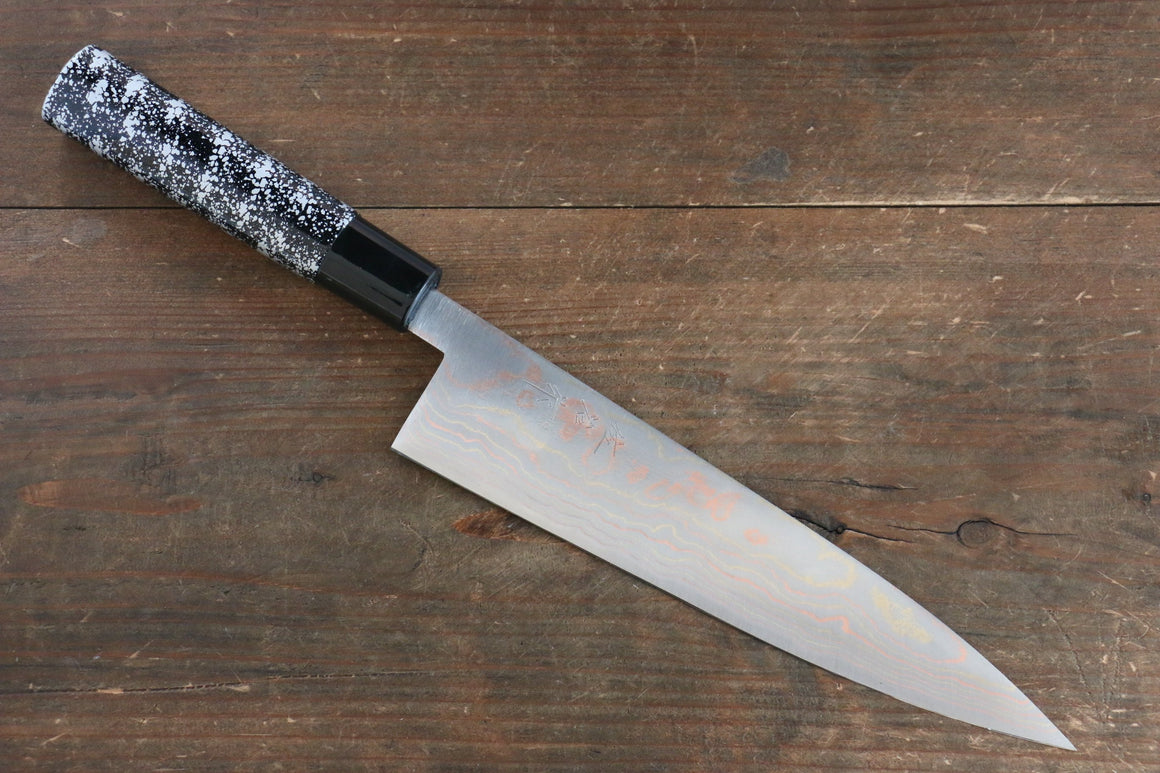 Takeshi Saji Blue Steel No.2 Colored Damascus  Gyuto Japanese Knife 210mm with Lacquered Handle with Silver Lacquered Handle - Japanny - Best Japanese Knife