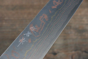 Takeshi Saji Blue Steel No.2 Colored Damascus  Gyuto Japanese Knife 210mm with Lacquered Handle - Japanny - Best Japanese Knife