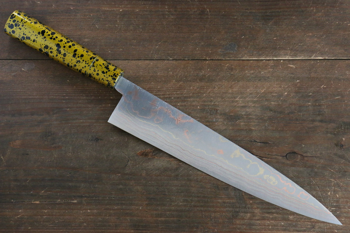 Takeshi Saji Blue Steel No.2 Colored Damascus  Gyuto Japanese Knife 240mm with Gold Lacquered Handle - Japanny - Best Japanese Knife