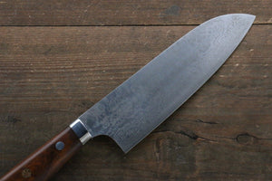 Nao Yamamoto Coreless Damascus Santoku Japanese Knife 170mm with Ironwood Handle - Japanny - Best Japanese Knife