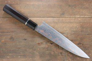 Takeshi Saji Blue Steel No.2 Colored Damascus  Gyuto Japanese Chef Knife 210mm with Ebony Handle (ferrule: Water Buffalo with Ring) - Japanny - Best Japanese Knife