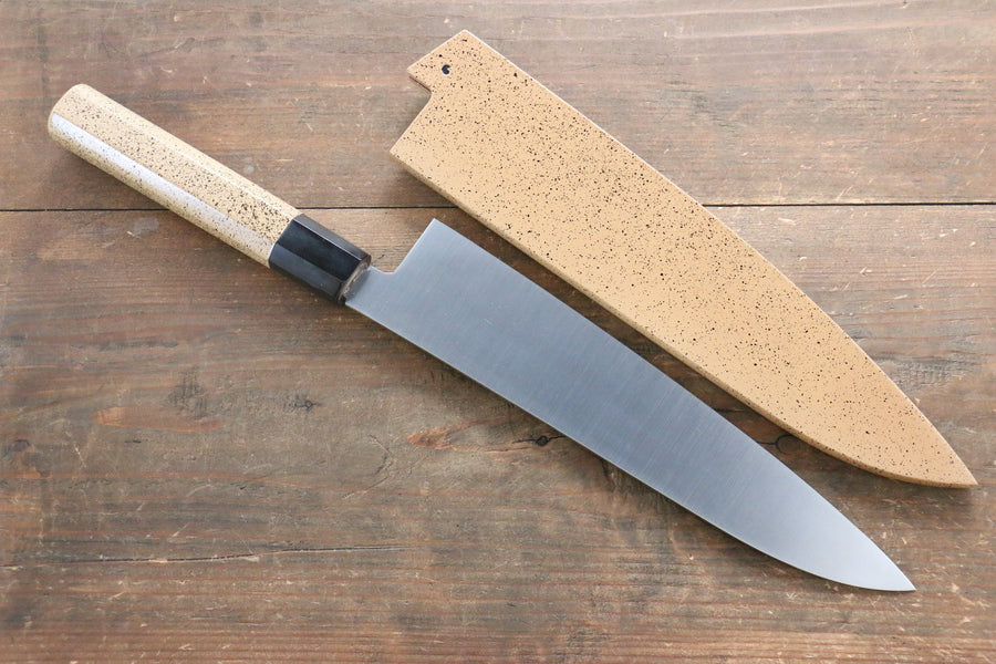Seisuke INOX Gyuto Japanese Knife 240mm with Beige Lacquered Handle (ferrule: Water Buffalo Horn) - Japanny - Best Japanese Knife