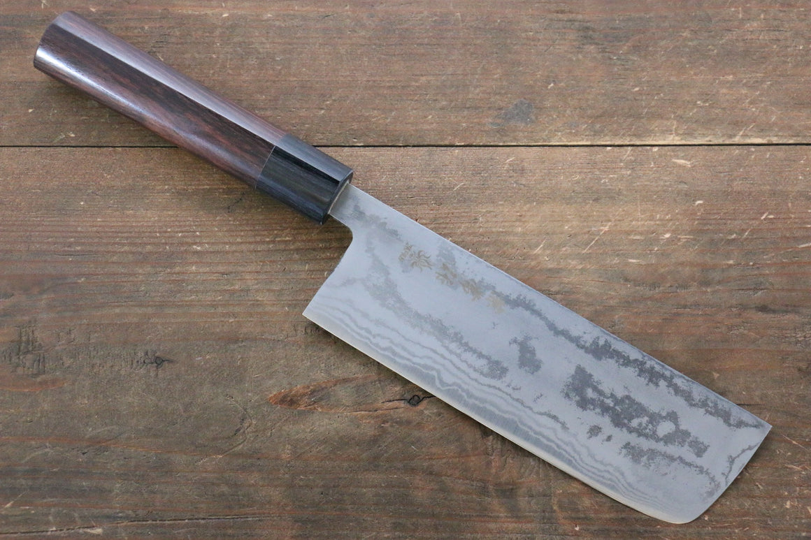 Kanetsune Blue Steel No.2 Damascus Nakiri Japanese Knife 165mm with Shitan Handle - Japanny - Best Japanese Knife