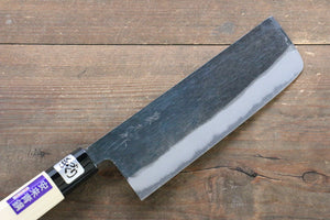 Kanetsune Blue Steel No.2 Kurouchi Nakiri Japanese Knife 165mm with Magnolia Handle - Japanny - Best Japanese Knife
