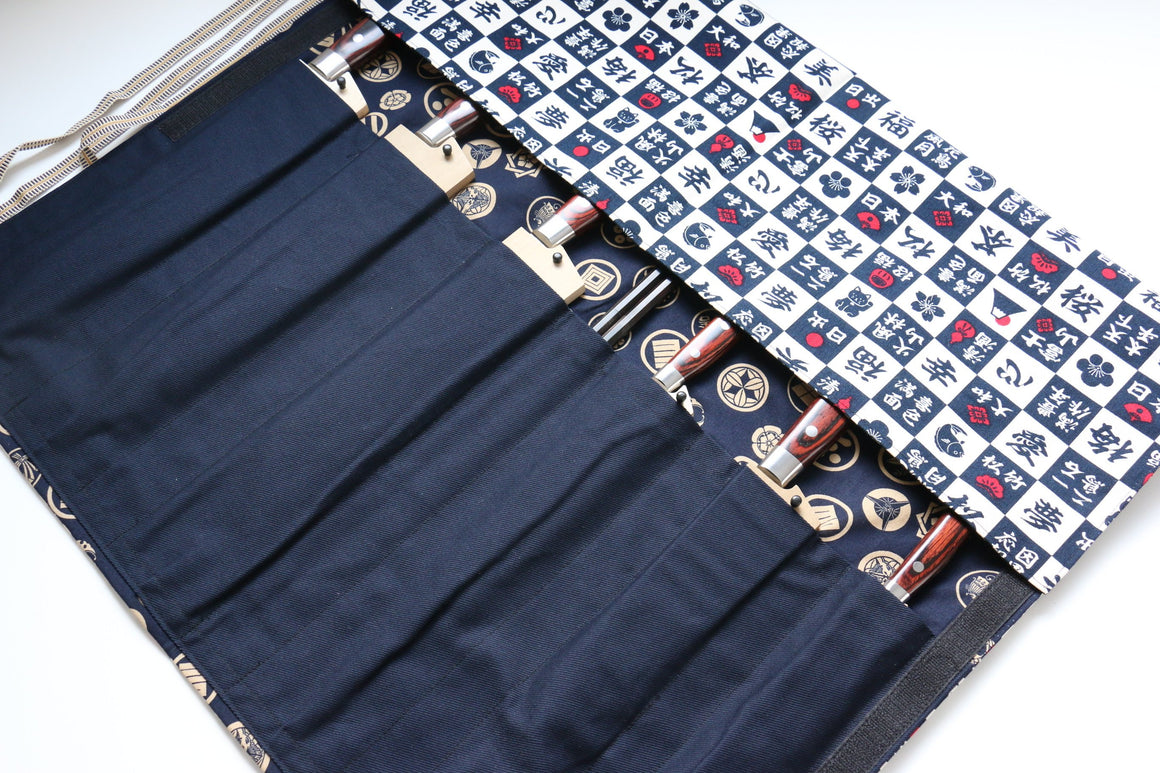 Japanese Style Knife Roll Kanji-U-Goldkamon 7 Pockets - Japanny - Best Japanese Knife