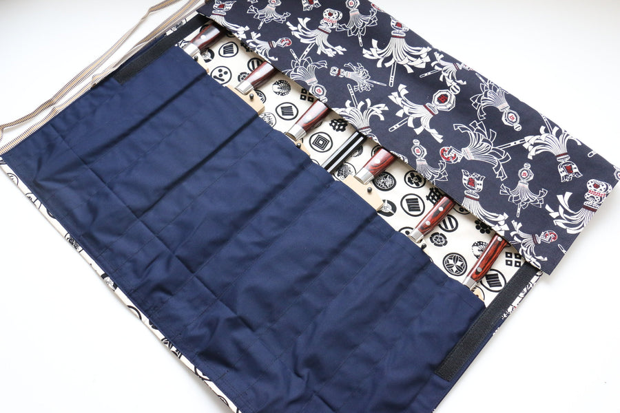 Japanese Style Knife Roll Konhikeshi-U-Shirokamon 7 Pockets - Japanny - Best Japanese Knife