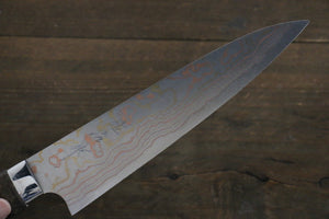 Takeshi Saji Blue Steel No.2 Colored Damascus Gyuto Japanese Chef Knife 180mm with Cherry Blossoms Handle - Japanny - Best Japanese Knife