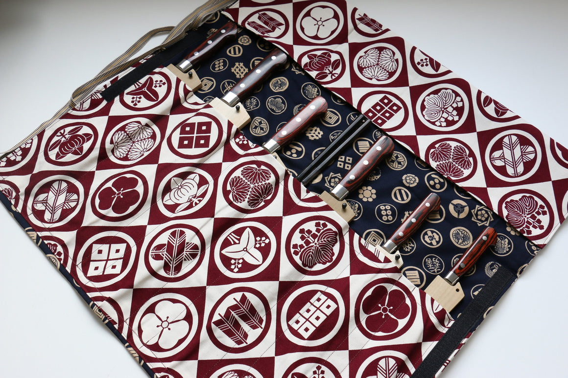Japanese Style Knife Roll Redkamon-Ura-GoldKamon 7 Pockets - Japanny - Best Japanese Knife