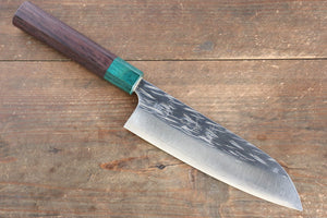 Yu Kurosaki Juhyo R2/SG2 Hammered Santoku Japanese Knife 165mm with Shitan Handle - Japanny - Best Japanese Knife