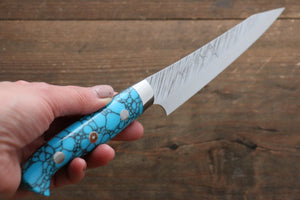 Yu Kurosaki Fujin SPG2 Hammered Damascus Petty-Utility Japanese Knife 150mm Turquoise Handle - Japanny - Best Japanese Knife
