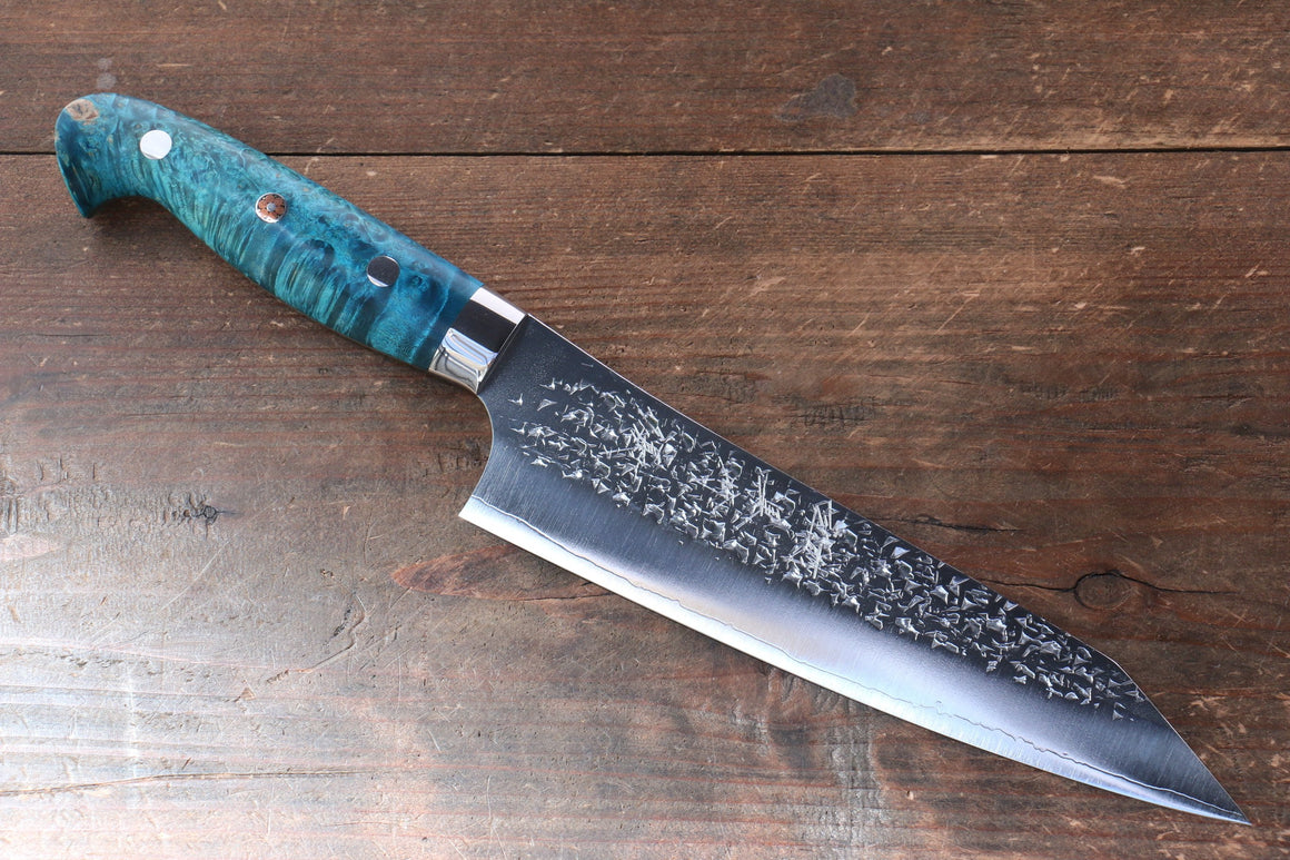 Yu Kurosaki Yu Kurosaki Shizuku R2/SG2 Hammered Gyuto Japanese Knife 180mm with Stabilized wood Handle - Japanny - Best Japanese Knife