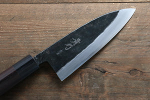 Takayuki Iwai White Steel No.1 Kurouchi Finish Deba Japanese Chef Knife 150mm with Shitan Handle - Japanny - Best Japanese Knife