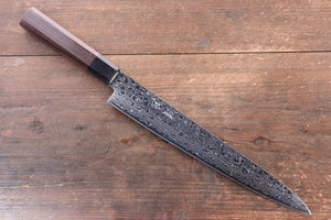 Seisuke AUS10 Damascus Sujihiki Japanese Knife 240mm Shitan Handle - Japanny - Best Japanese Knife