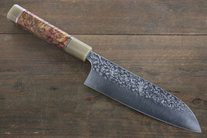 Yu Kurosaki Shizuku R2/SG2 Hammered Santoku Japanese Chef Knife 180mm with Maple Handle - Japanny - Best Japanese Knife