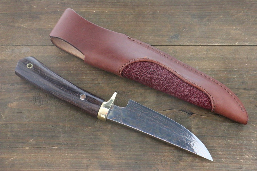 Tsukasa Hinoura Blue Steel No.2 Colored Damascus Hunter Knife 100mm with Rose wood Handle - Japanny - Best Japanese Knife