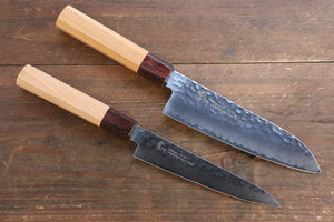 Sakai Takayuki VG10 33 Layer Damascus Japanese Chef Knife Santoku 170mm & Petty 150mm Set with Keyaki Handle(Japanese Elm)