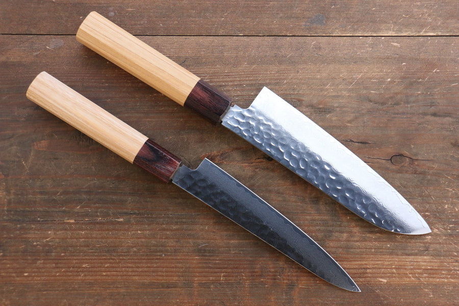 Sakai Takayuki VG10 33 Layer Damascus Japanese Chef Knife Santoku 170mm & Petty 150mm Set with Keyaki Handle(Japanese Elm) - Japanny - Best Japanese Knife