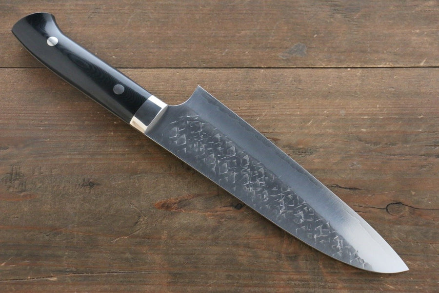 Takeshi Saji SRS13 Hammered Santoku Japanese Chef Knife 180mm with Black Micarta Handle - Japanny - Best Japanese Knife