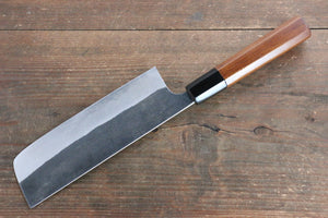 Yoshimi Kato Blue Super Kurouchi Nakiri Japanese Knife 165mm with Lacquered Handle with Saya - Japanny - Best Japanese Knife