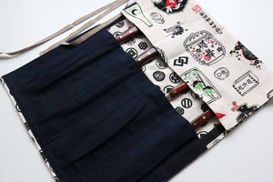 Japanese Style Knife Roll Shirosake-U-Shirokamon4 Pockets - Japanny - Best Japanese Knife