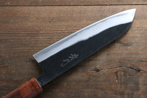 Takayuki Iwai Blue Super Kurouchi Santoku Japanese Knife 165mm with Shitan Handle (Ferrel Material: Honduras) - Japanny - Best Japanese Knife