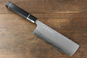 Makoto Kurosaki VG10 Damascus Nakiri Japanese Knife 165mm with Ebony with Double Ring Handle - Japanny - Best Japanese Knife