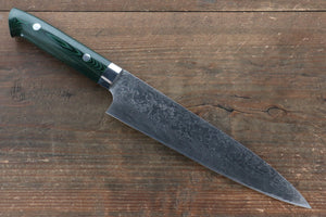 Takeshi Saji R2/SG2 Diamond Finish Damascus Gyuto Japanese Knife 210mm with Green Micarta Handle - Japanny - Best Japanese Knife