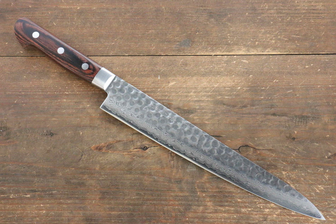 Jikko VG10 17 Layer Sujihiki Japanese Knife 240mm Mahogany Handle - Japanny - Best Japanese Knife