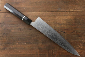 Takeshi Saji R2/SG2 Diamond Finish Damascus Gyuto Japanese Chef Knife 240mm with Double water buffalo horn with ebony handle - Japanny - Best Japanese Knife