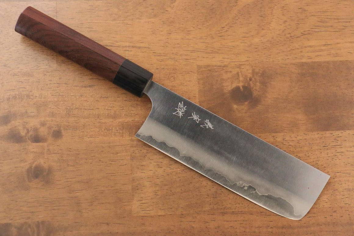 Yoshimi Kato Blue Super Migaki Finished Nakiri Japanese Knife 165mm with Shitan Handle - Japanny - Best Japanese Knife