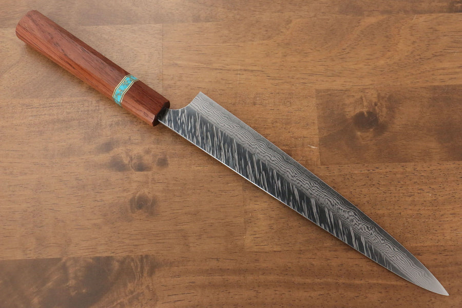 Yu Kurosaki Fujin VG10 Hammered Sujihiki Japanese Knife 240mm Maple(With turquoise ring Brown) Handle - Japanny - Best Japanese Knife
