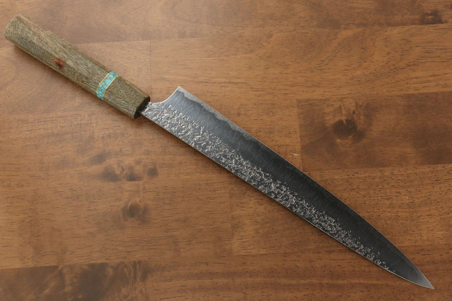 Yu Kurosaki Shizuku R2/SG2 Hammered Sujihiki Japanese Knife 270mm Maple(With turquoise ring Green) Handle - Japanny - Best Japanese Knife