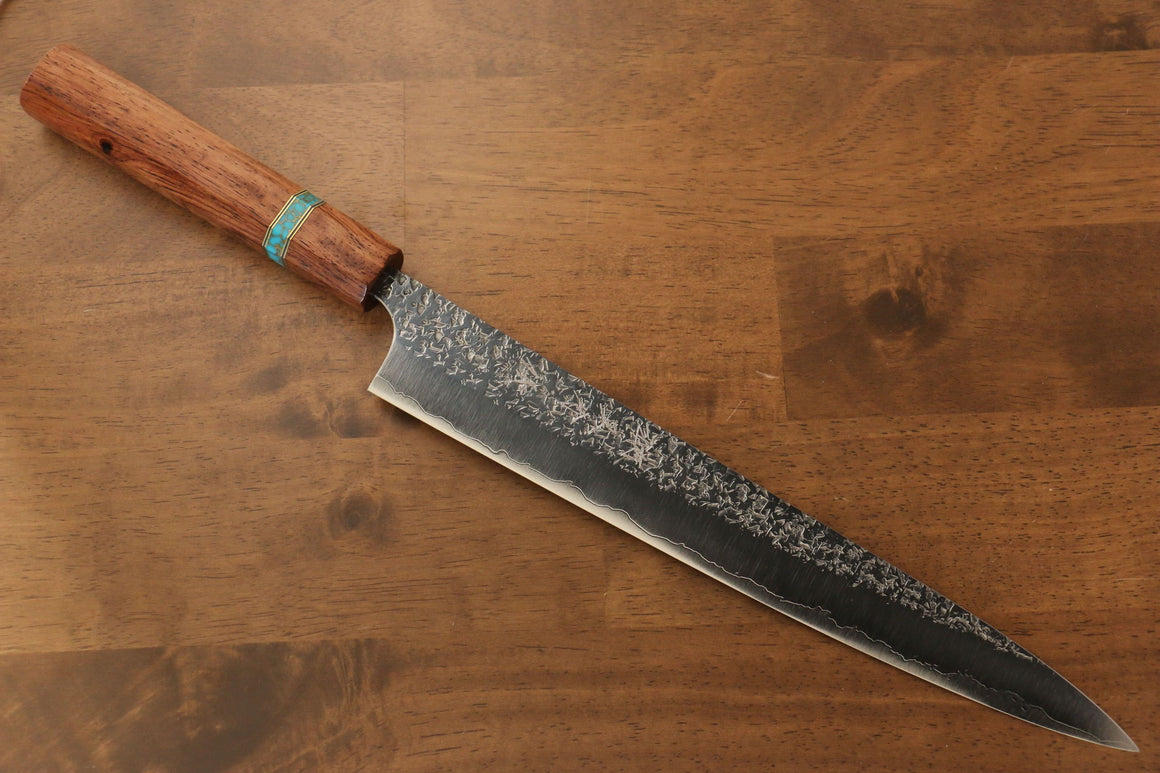 Yu Kurosaki Shizuku R2/SG2 Hammered Sujihiki Japanese Knife 270mm Maple(With turquoise ring Brown) Handle - Japanny - Best Japanese Knife