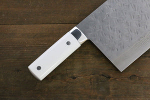 Takeshi Saji SRS13 Hammered Chinese kitchen knife 225mm with White Stone handle - Japanny - Best Japanese Knife