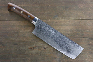 Takeshi Saji R2/SG2 Diamond Finish Damascus Nakiri Japanese Chef Knife 180mm with Iron Wood handle - Japanny - Best Japanese Knife