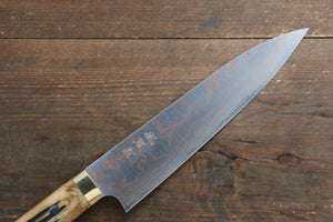 Takeshi Saji Blue Steel No.2 Colored Damascus Gyuto Japanese Knife 210mm with Brown Cow Bone  Handle