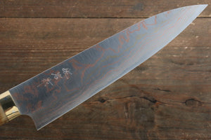 Takeshi Saji Blue Steel No.2 Colored Damascus Gyuto Japanese Knife 210mm with Brown Cow Bone  Handle - Japanny - Best Japanese Knife