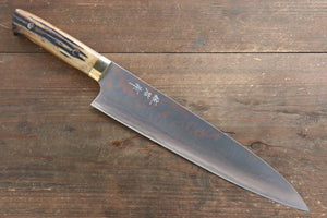 Takeshi Saji Blue Steel No.2 Colored Damascus Gyuto Japanese Knife 240mm with Brown Cow Bone  Handle - Japanny - Best Japanese Knife