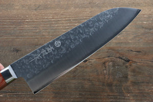 Takamura Knives Chromax Steel Hammered Santoku Japanese Knife 170mm with Brown Pakka wood Handle - Japanny - Best Japanese Knife